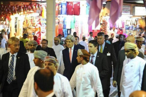 John Kerry doing some early Christmas shopping in Muttrah Souq